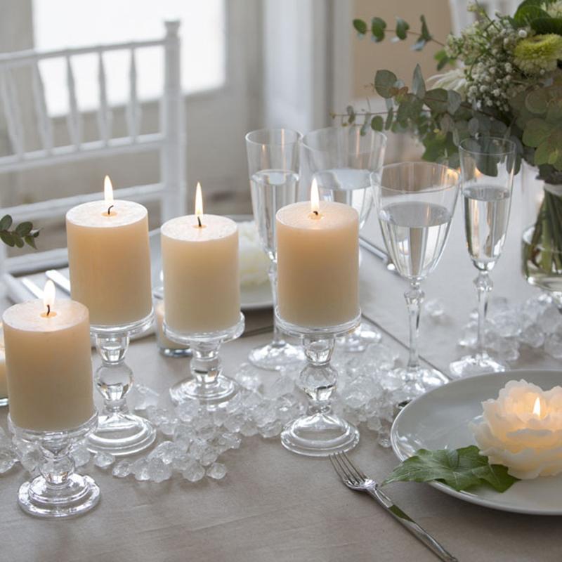 Portavelas portavelas de cristal tipo candelabro madrid for Decoracion de velas