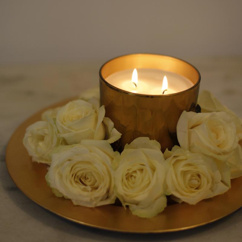 Vela Vaso Cristal Dorado I Vaso de cristal dorado para velas I ...