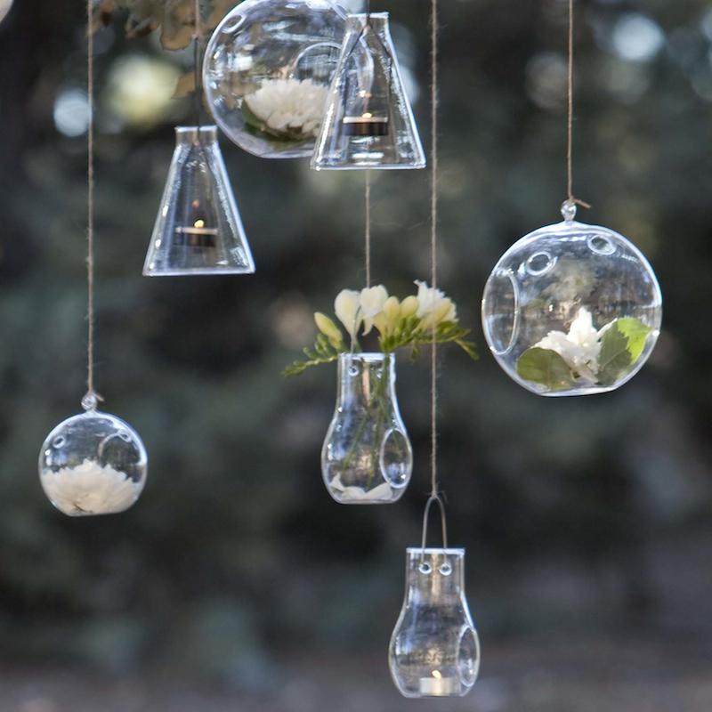 Portavelas de cristal colgante portavelas de vidrio for Bolas de cristal decorativas