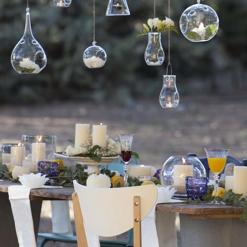 Portavelas de cristal cilindrico portavelas de vidrio cil ndrico decoragloba - Velas jardin ...