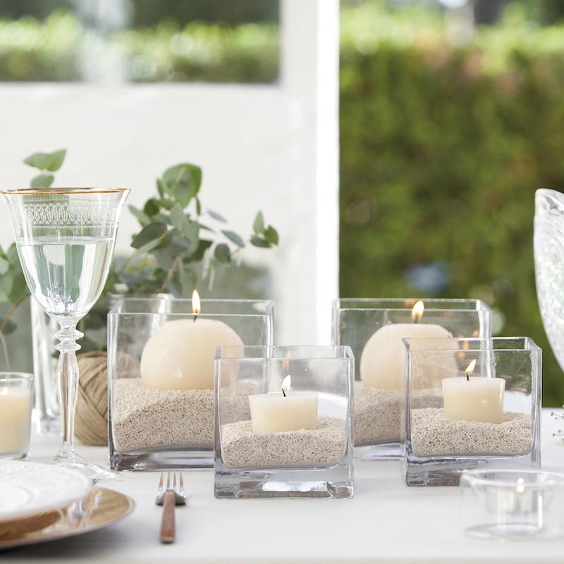 Portavelas de cristal cuadrado portavelas de vidrio for Como decorar un cristal de mesa