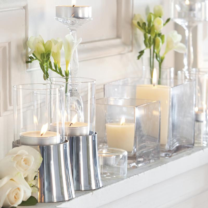 Portavelas de cristal cuadrado portavelas de vidrio - Decoracion jarrones cristal ...